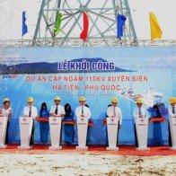 Khởi công cáp ngầm 110kV xuyên biển Hà Tiên-Phú Quốc