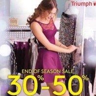 Triumph khuyến mãi giảm giá 30-50% thời trang lót