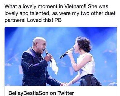 Peabo Bryson khen giọng hát Văn Mai Hương trên Twitter