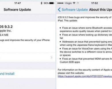 Apple phát hành iOS 9.3.2 sửa lỗi cho iPhone và iPad