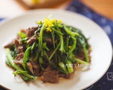 Thịt bò xào ngồng cải mềm ngon, đậm đà