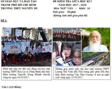 Thầy Văn Như Cương và bác sĩ Nguyễn Anh Trí vào đề kiểm tra môn Văn
