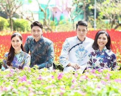 Hoa hậu Đào Thị Hà, Trần Trung cùng Thanh Hà diện áo dài hoa dạo phố Xuân