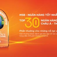 MSB lọt top 30 ngân hàng tốt nhất khu vực Châu Á Thái Bình Dương năm 2019